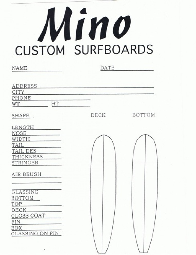 Order Forms  Mino Surfboards Hand Shaped Custom Surfboard Designs